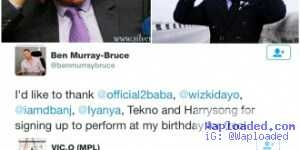 Vic O Offers To Perform For Free At Ben Bruce's Birthday